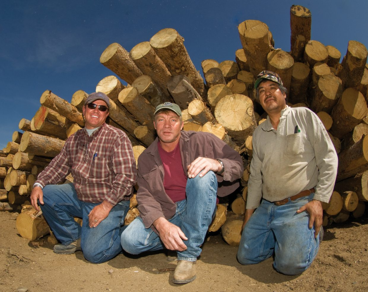 Billy Oerding, Mike Miller and Arcadio Rojas own and operate More Lumber near Milner. The owners hope the lumber mill can find an upside to the beetle epidemic that is devastating forests across the West.