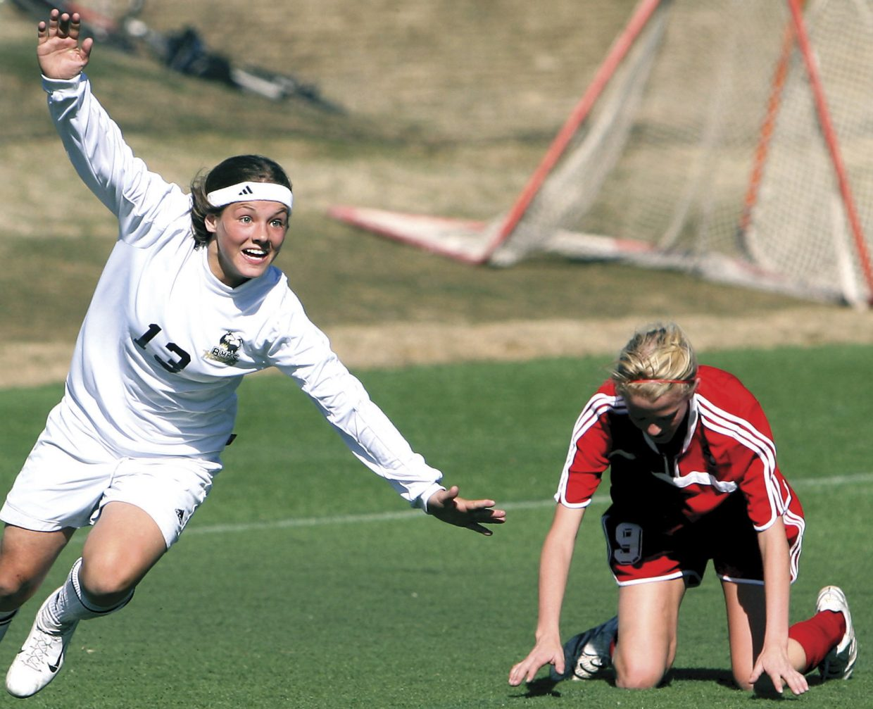 Lizzie Seibert celebrates after scoring the only goal of the game in a 1-0 win against Steamboat Springs on April 15, 2008. Battle Mountain girls soccer went 15-0 that year, the only undefeated season for the Lady Huskies, and, naturally, the Sailors were Battle Mountain's biggest obstacle to that mark.