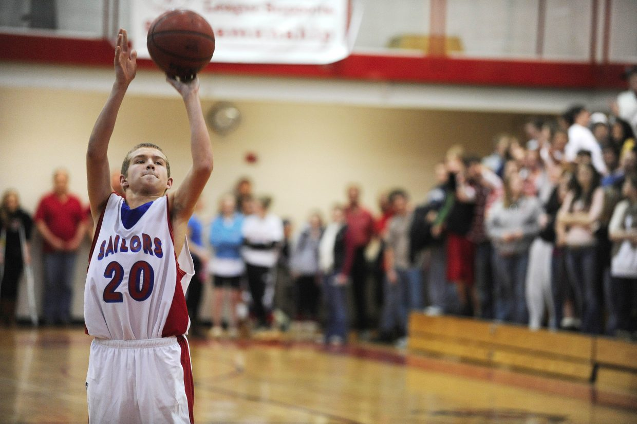 Steamboat Springs High School sophomore Justin Anderson takes a free throw.