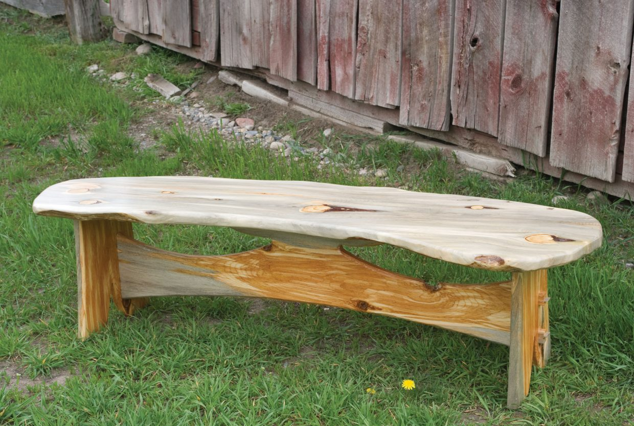 Jimmy Morton created this bench was created using beetle kill wood. Morton owns a woodworking company called Frontier Finishes, and uses beetle kill wood to make a number of custom items.