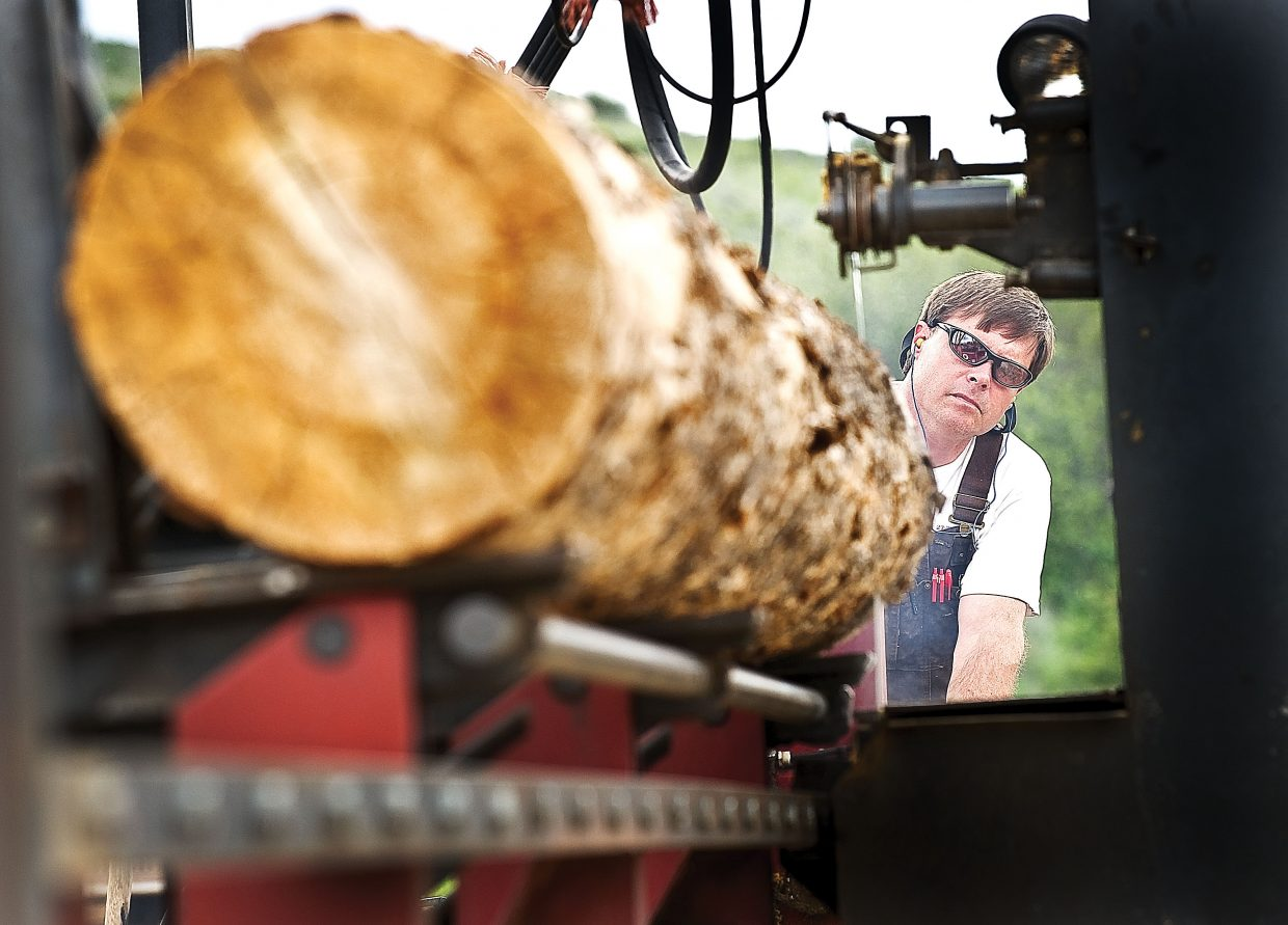 Ed Watson, of Wood Wise Productions, runs beetle-killed lumber through his sawmill near Milner. Woodworkers like Watson are finding new uses for the wood.