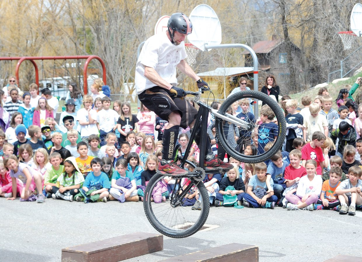 Stu Hassell demonstrates bike skills to students at Soda Creek Elementary School. The demonstration was a joint effort that included the Wheels Bike Shop, the Steamboat Springs Bike Town USA and Safe Routes to School.