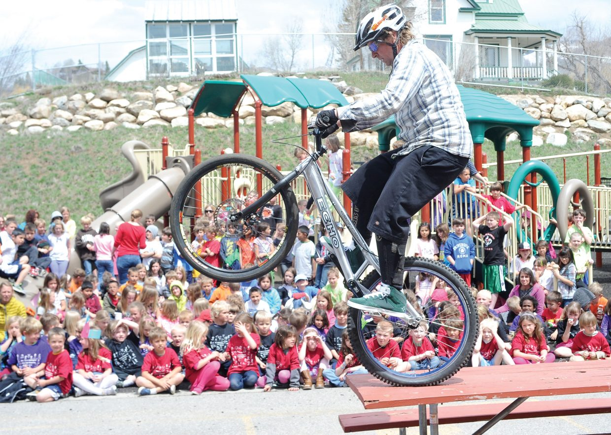 Brian Deem demonstrates bike skills to students at Soda Creek Elementary School. The demonstration was a joint effort that included Wheels Bike Shop, the Steamboat Springs Bike Town USA Initiative and Safe Routes to School.