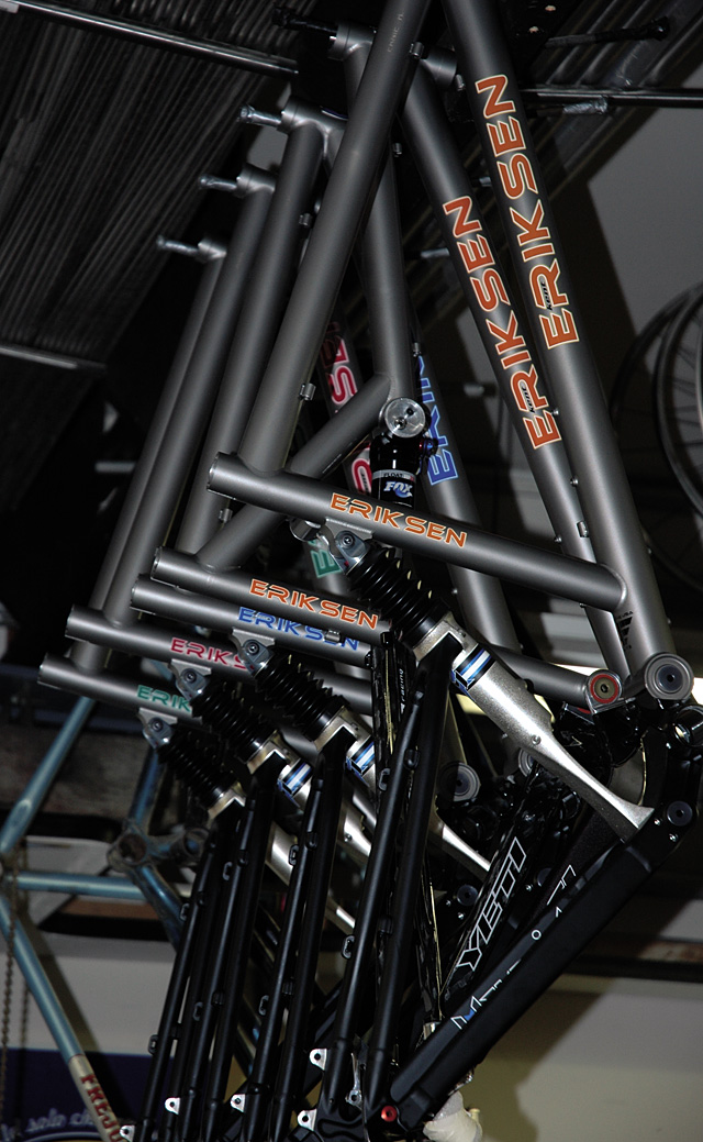 A new batch of Kent Eriksen's 96er titanium frames feature Yeti carbon fiber suspension triangles and are equipped to fit a 29-inch front wheel and a standard 26-inch wheel on back.