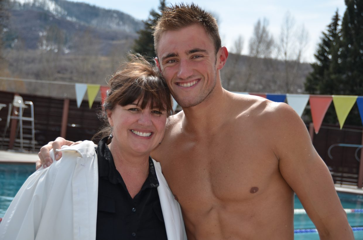 Blake Worsley and his mom, Patti, take pictures poolside for local media. Submitted by: Shannon Lukens
