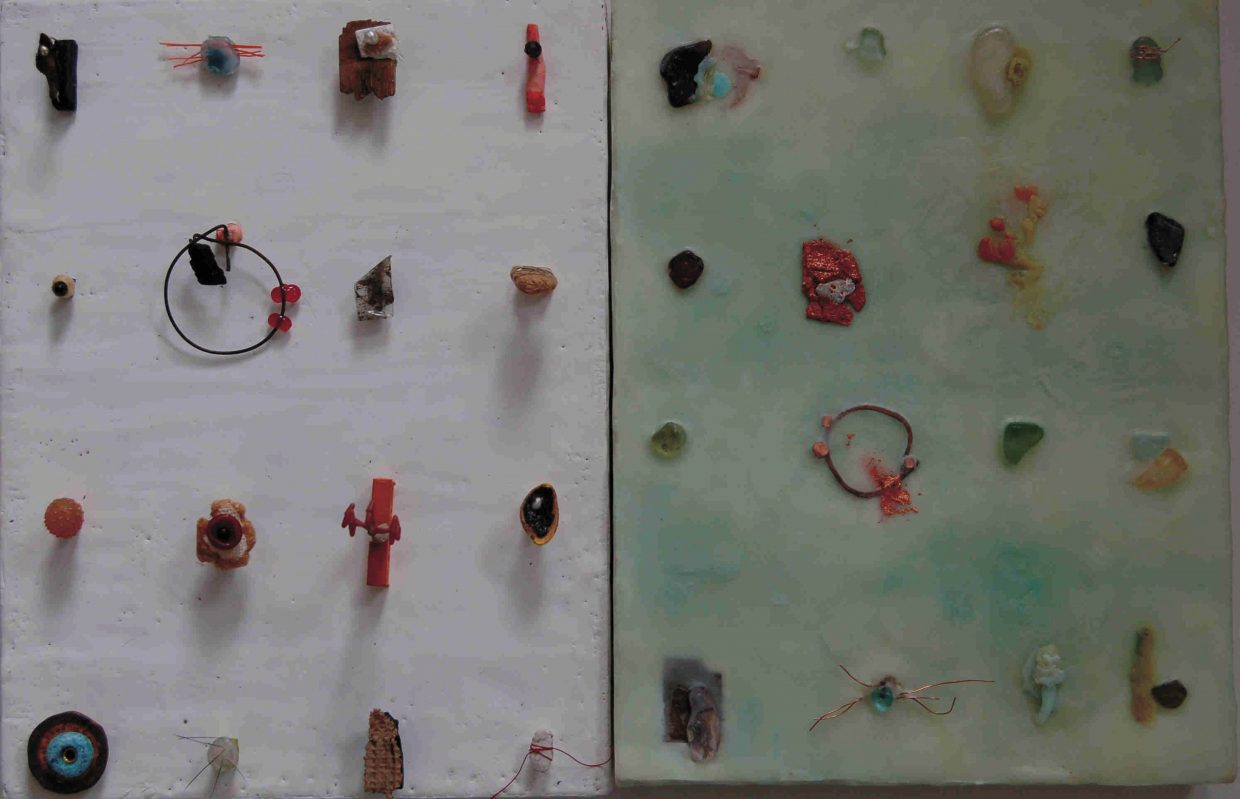"""One of the pieces in """"The Diptych Project: A Collaboration in Wax."""""""