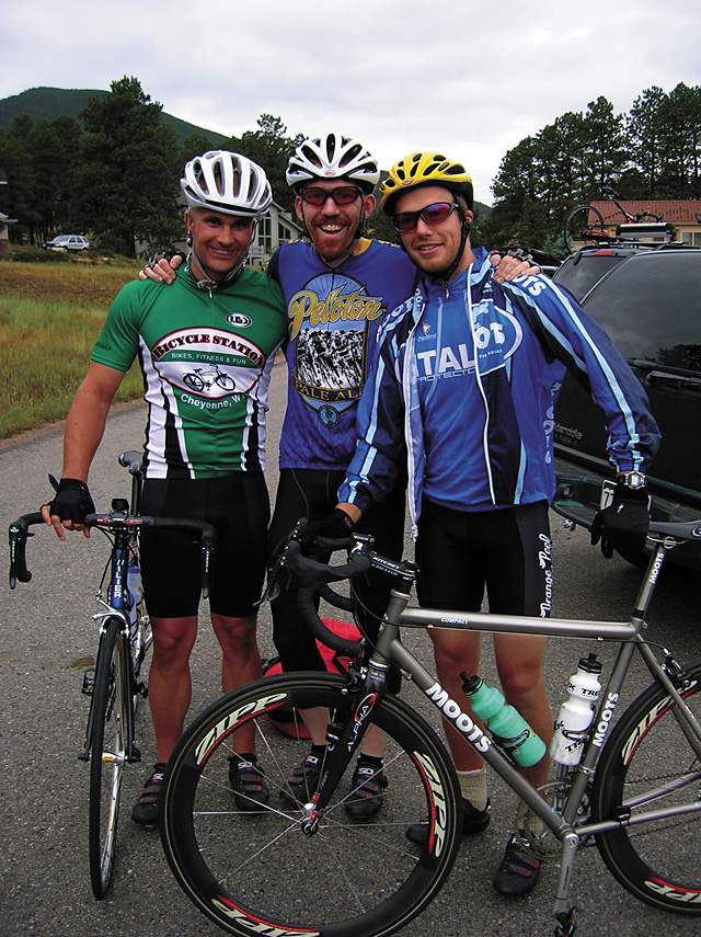 Cody St. John, left, was a passionate road cyclist, seen here last July preparing to begin the 2006 Triple Bypass Bicycle Tour from Evergreen to Avon with friends Chris Jakubowski, center, and Jeremy Hockley, who both rode in his honor at the recent Tour de Prairie in Wyoming.