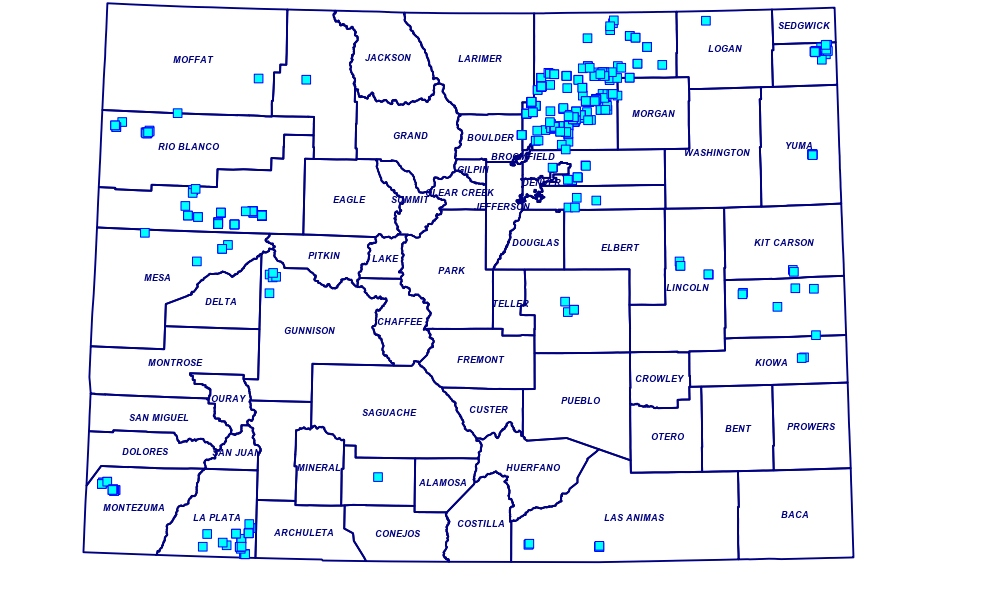 The gray dots on this map of Colorado show all of the pending oil and gas permits in the state.
