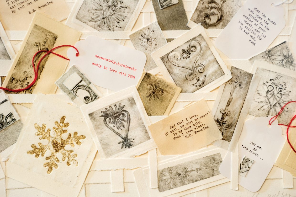 """Printmaker Molly Wilson paired small Valentine images with bits of poetry by Elizabeth Barrett Browning to create large pieces for """"Heart Fires,"""" her first gallery show in 25 years."""