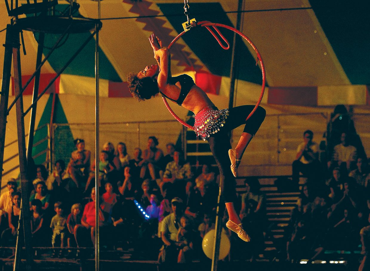 Ingrid Racinez performs performs as part of the 5 p.m. American Crown Circus show Wednesday evening. The circus, which rolled into town Tuesday, will have performances at 5 p.m. and 7 p.m. today at the Brent Romick Rodeo ground before heading to its next stop.