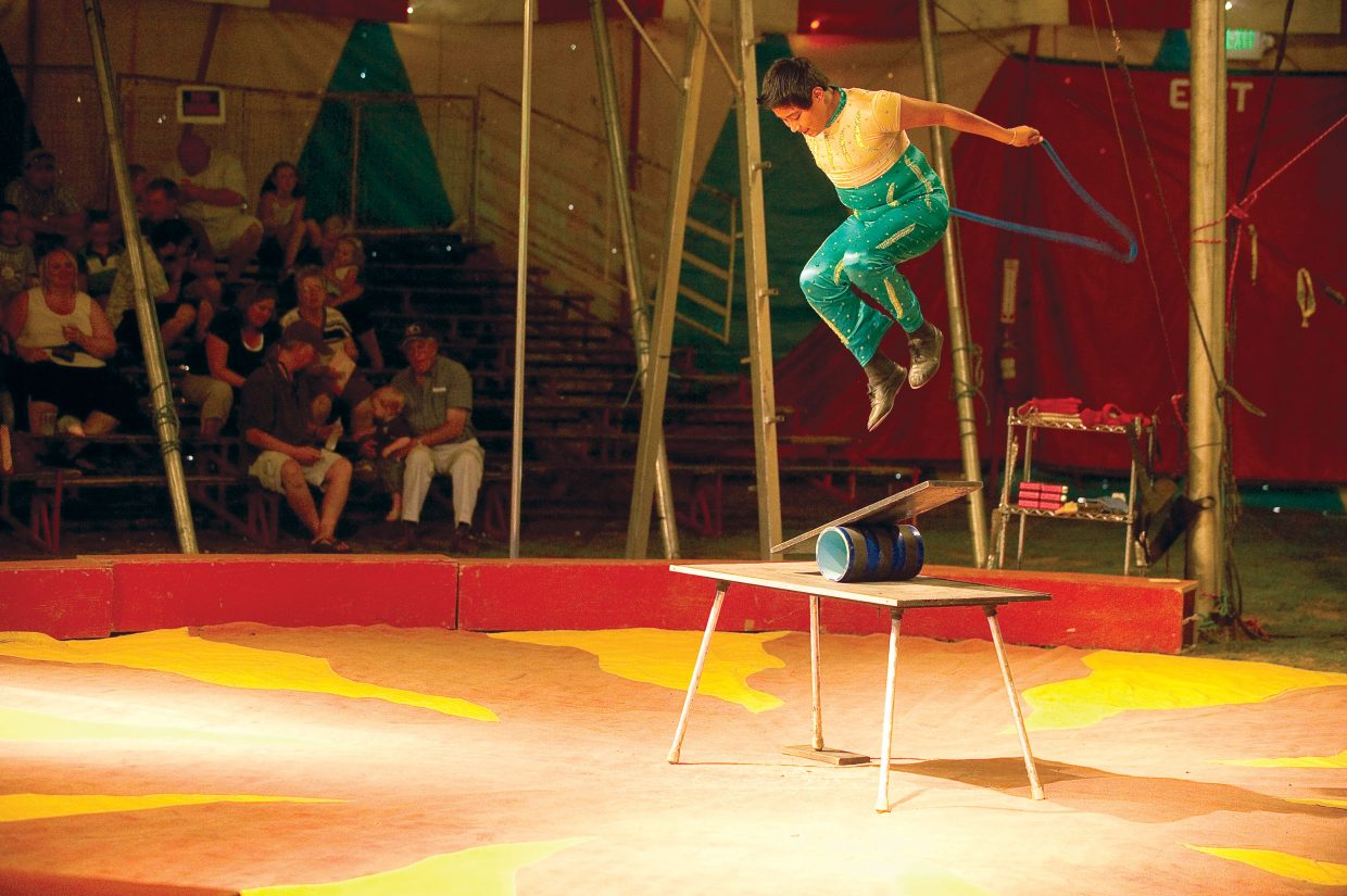 Ramario Perez performs as part of the American Crown Circus on Wednesday evening.