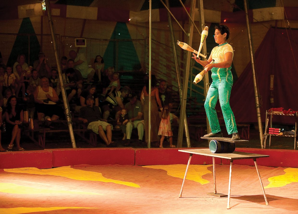 Ramario Perez performs as part of the American Crown Circus on Wednesday evening. The circus, which rolled into town Tuesday, will have performances at 5 and 7 p.m. today at the Brent Romick Rodeo Arena before heading to its next stop.
