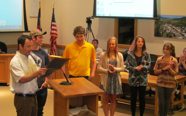 City Council member Kenny Reisman reads a proclamation May 21 recognizing the Steamboat Springs Teen Council Teen of the Month winners for the 2012-13 school year. Pictured from left: Kenny Reisman, Casey Williams, Casey Weston, Lauren Anderson, Bailey Pugh, Nissa Parker. Not pictured: Sydney Finkbohner and Maddie Labor. Submitted by: Kate Elkins