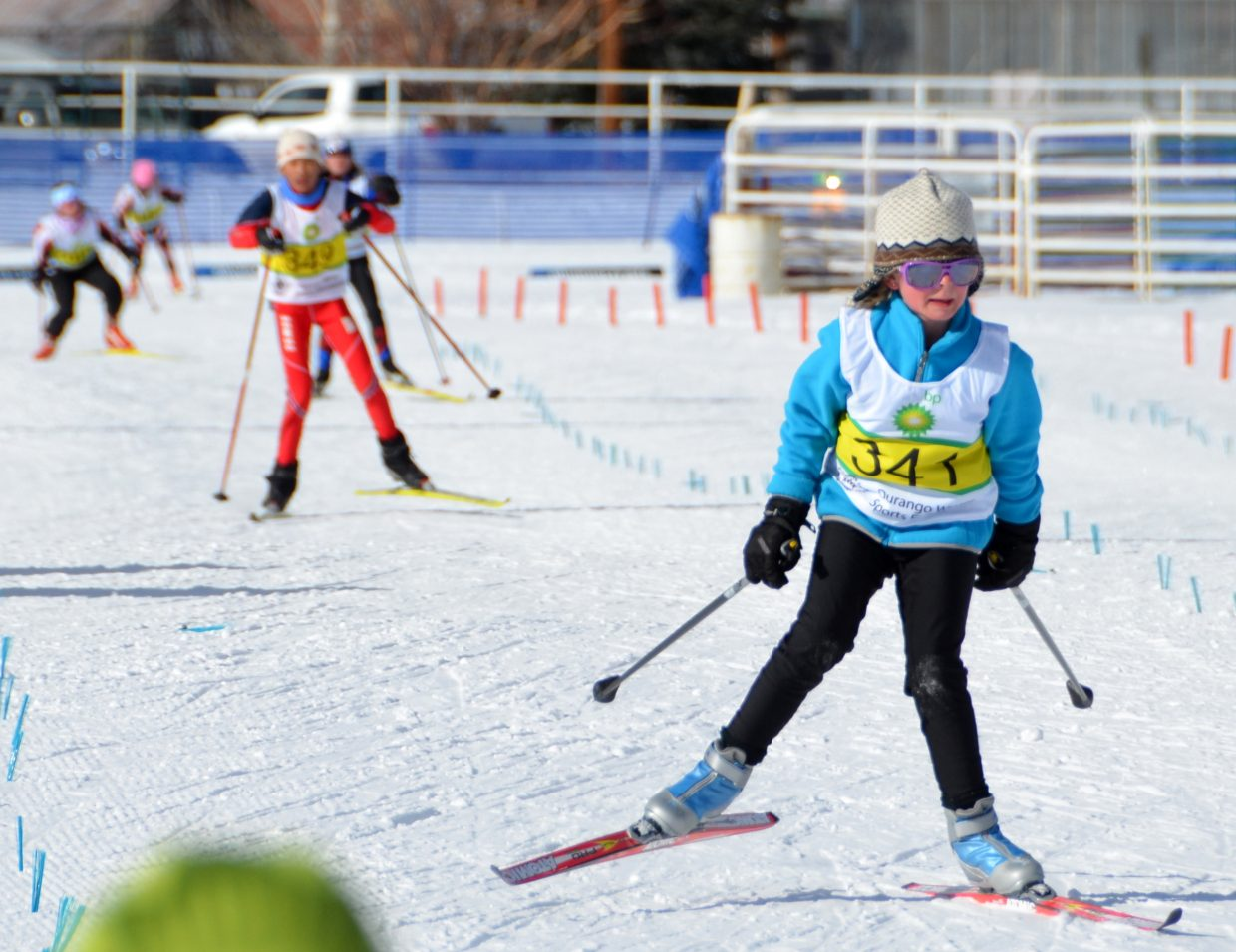 J5 skier Claudia Luthy, of Durango, leads the pack during a cross-country event at Howelsen Hill on Friday.