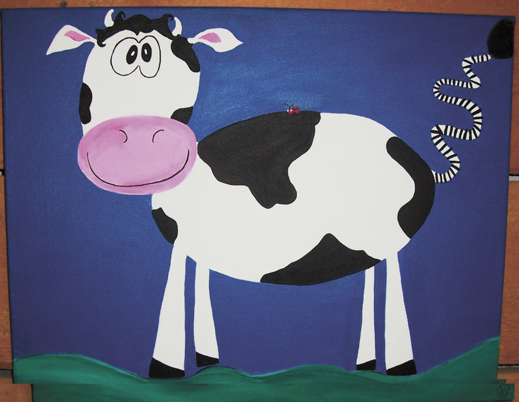 """""""Cow and Lady Bug"""" by Susanmarie Oddo is inspired by two of Oddo's students who are close friends with each other. Oddo's """"Kidspiration"""" paintings open with a reception from 5 to 8 p.m. today at Comb Goddess salon. The event is part of First Friday Artwalk."""