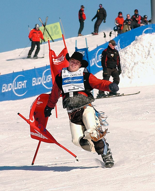 Joe Gunderson, a bareback rider from White, S.D., was determined to finish the Cowboy Downhill course Tuesday. He finished the run without his skis. Fifty-seven members of the Professional Rodeo Cowboys Association competed in this year's event.