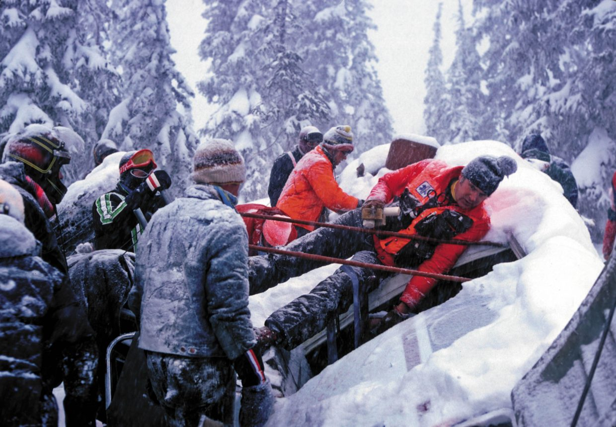 Rescuers get to work at the scene of the Rocky Mountain Airways Flight 217 crash. The plane crashed about 7:45 p.m. Dec. 4 on the east side of Buffalo Pass.