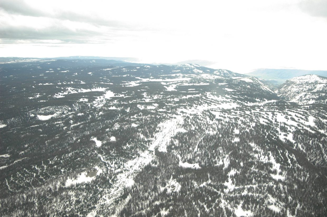 Rocky Mountain Airways Flight 217 crashed on Buffalo Pass, northeast of Steamboat Springs. This image was shot Friday from a plane flown by Matt Kotts, who survived the crash as an infant. The power lines the plane hit run down the bare patch in the middle of the photo. The plane landed toward the top of the pass.