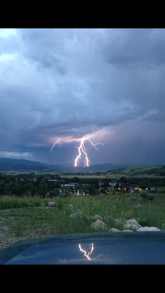 Lightning lighting up the sky looking from Hilltop Parkway above McDonald's. Submitted by: Cutter Pasternak