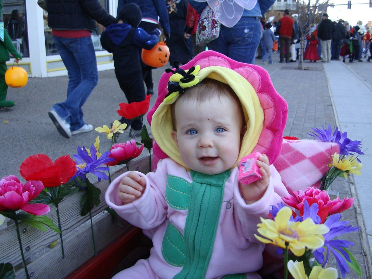 Avery Skaggs enjoys her first Halloween, dressed as a planter box. Submitted by: Nina Skaggs