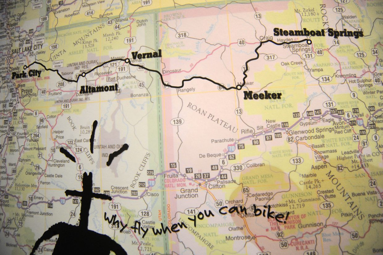 A map on display in the SmartWool booth at Outdoor Retailer in Salt Lake City shows the 360-mile route taken by the riders.