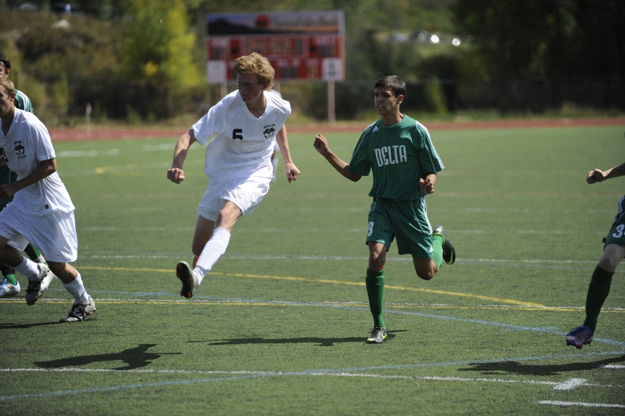 Steamboat Springs senior Peter White takes a shot Saturday against Delta. The Sailors won, 4-2.