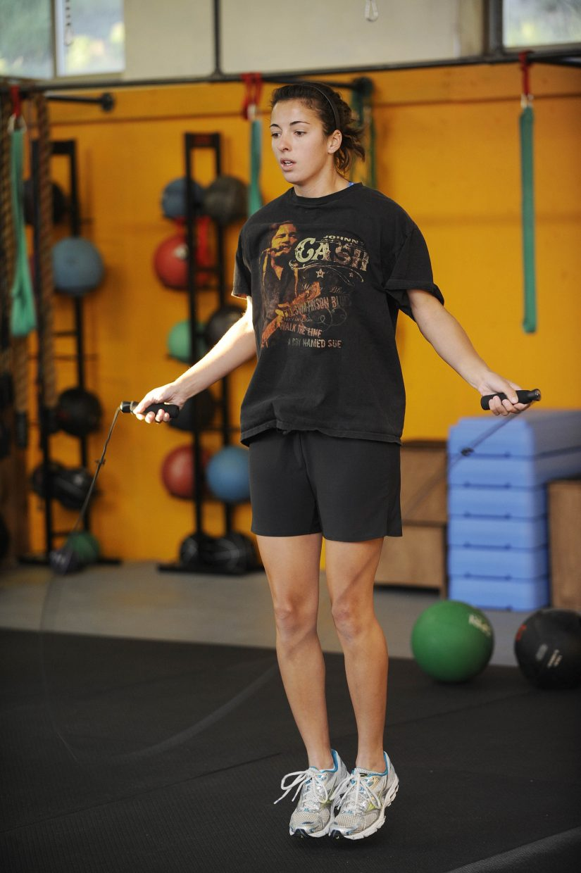 Lauren Zajic jumps rope during a workout at Manic Training.