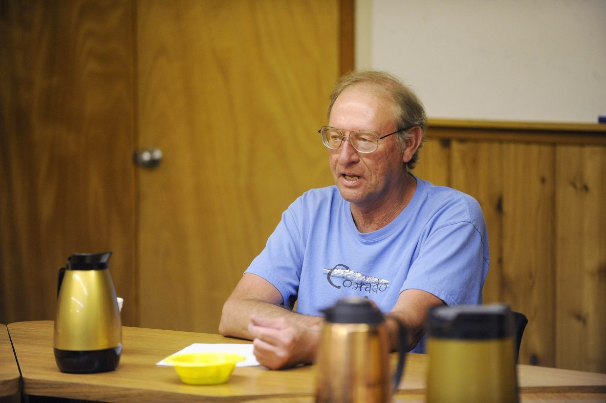 Yampa Mayor Bruce Pitts speaks during the Sept. 15 in Yampa to discuss medical marijuana.