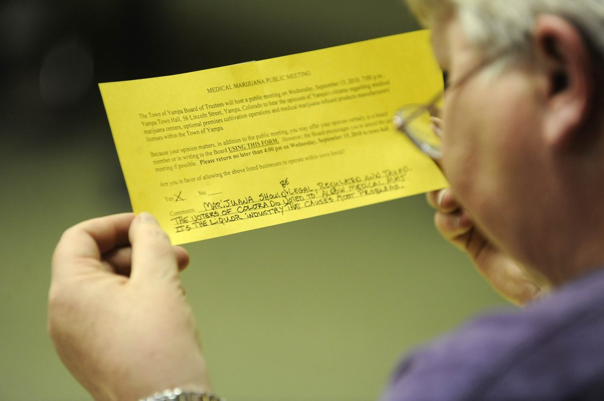 Yampa Town Clerk Janet Ray reads an opinion from a Yampa resident in favor of medical marijuana during a Sept. 15 public meeting.