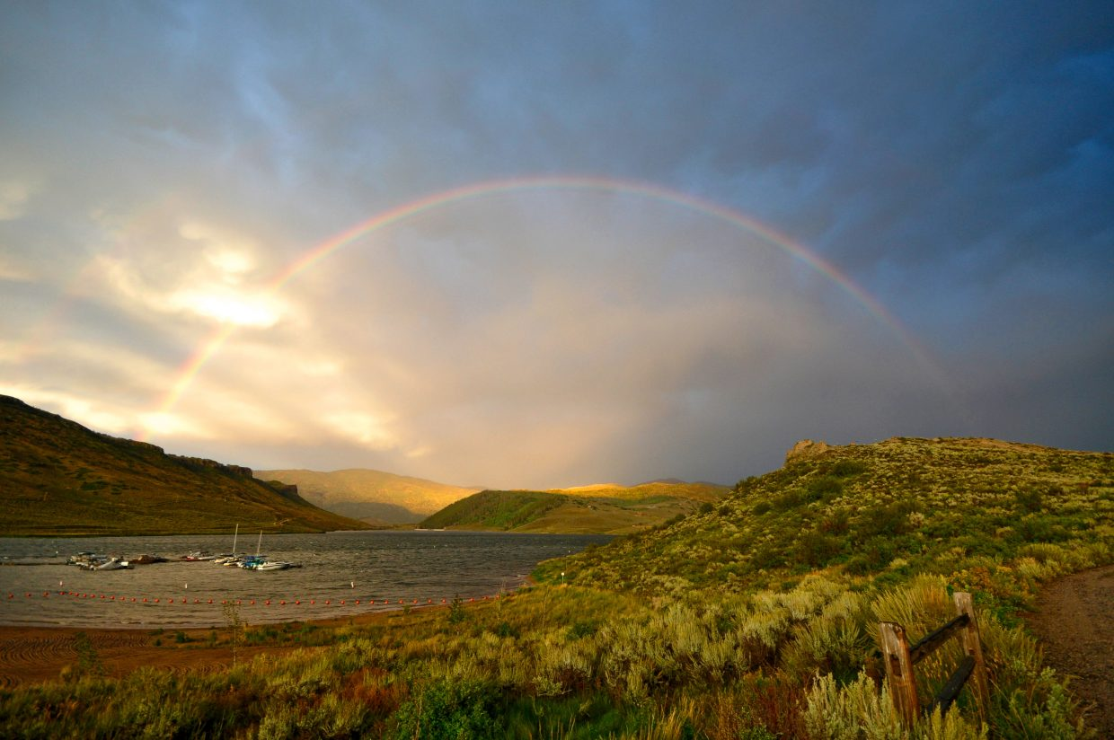 A thunderstorm on Friday night left this beautiful rainbow over Stagecoach Reservoir. Submitted by: Tina Schmitt