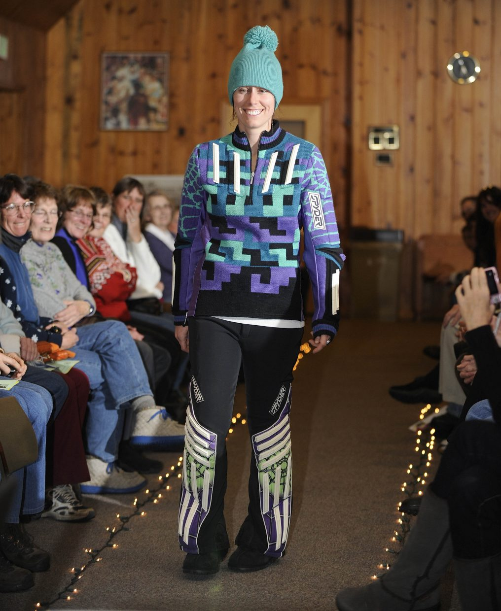 Amy Harrell participates in the Tread of Pioneers Museum's Vintage Ski Fashion Show.
