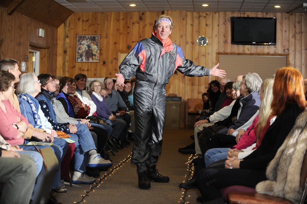 Ken Proper shows off for the ladies as he sports vintage ski fashion.