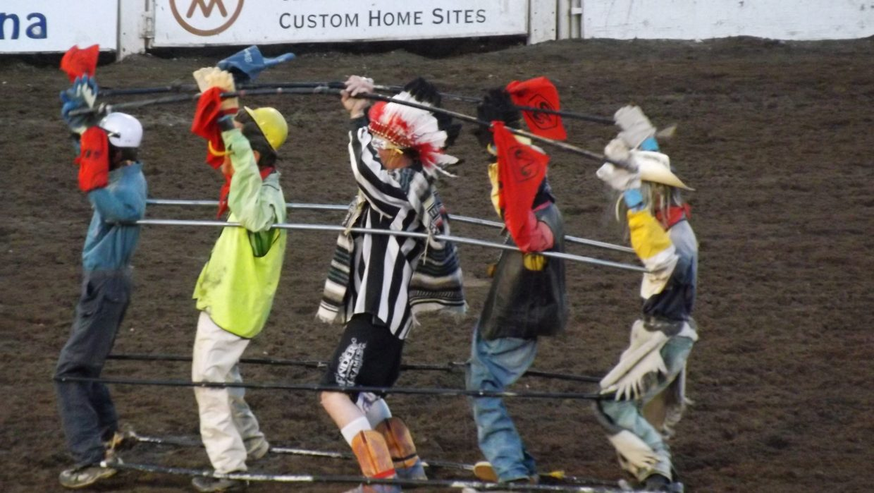 """""""Village Idiots"""" performing the YMCA at Steamboat Springs Rodeo on June 22. Submitted by: Dana Squier"""