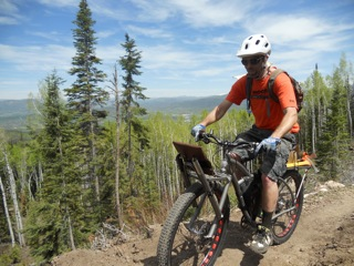 Moots' specially designed trail maintenance bike that created such a buzz at the North American Handmade Bicycle Show this winter got its first day of action on Steamboat's trails Saturday at Routt County Riders' Trail Work Day on Emerald Mountain! Routt County Riders members and volunteers - numbering 16 - worked on the Upper Quarry Trail. Thanks for your support! Submitted by: Wendy Tucciarone