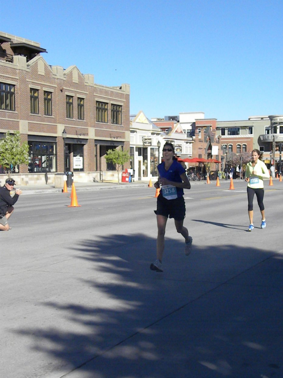 Jenny Siefken finishing third in the 10K for the 40-45 year old division. Submitted by: Melanie Nimtz