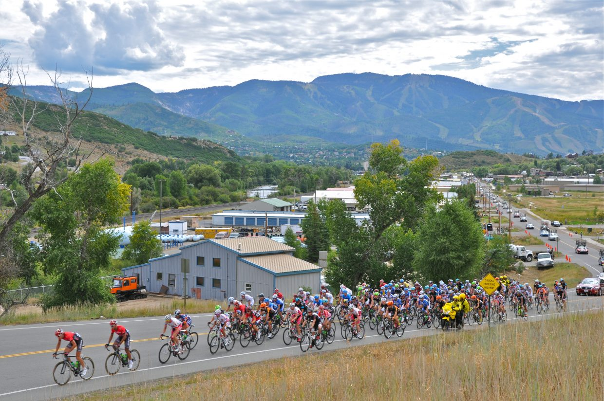 USA Pro Challenge cyclists head to Twentymile Road at the beginning of Stage 4 of the race. Submitted by Joy Rasmussen
