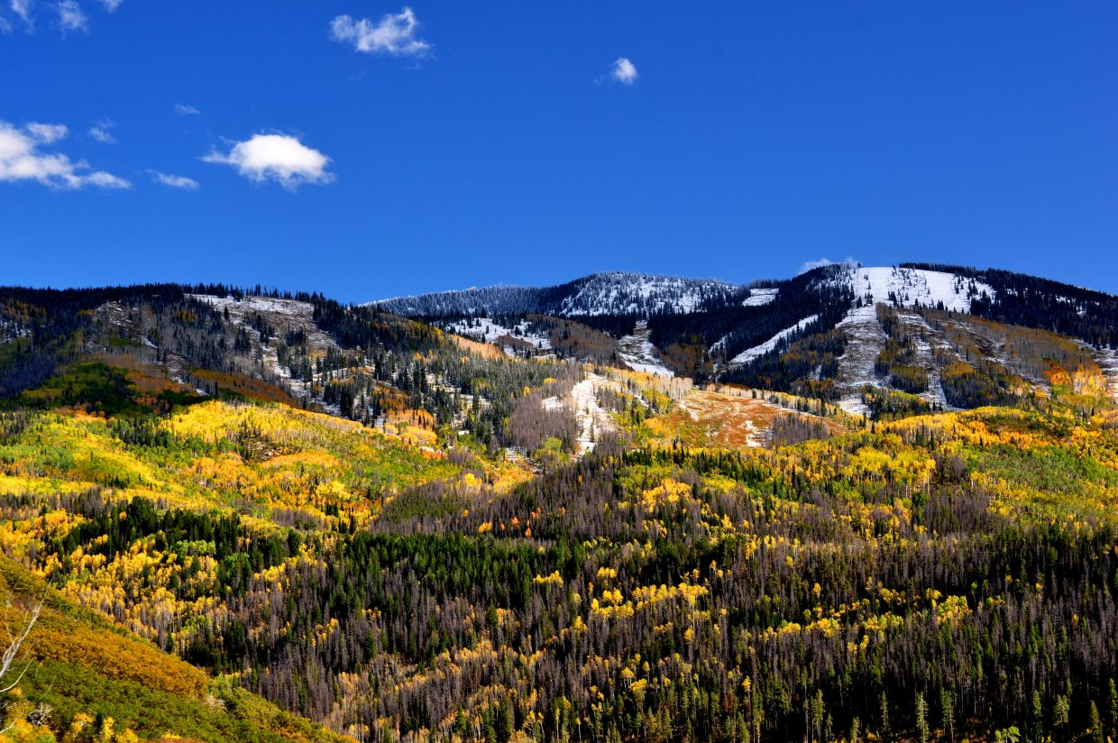 View of ski mountain from Boulder Ridge - Oct. 7, 2011, by Ollie Ballard