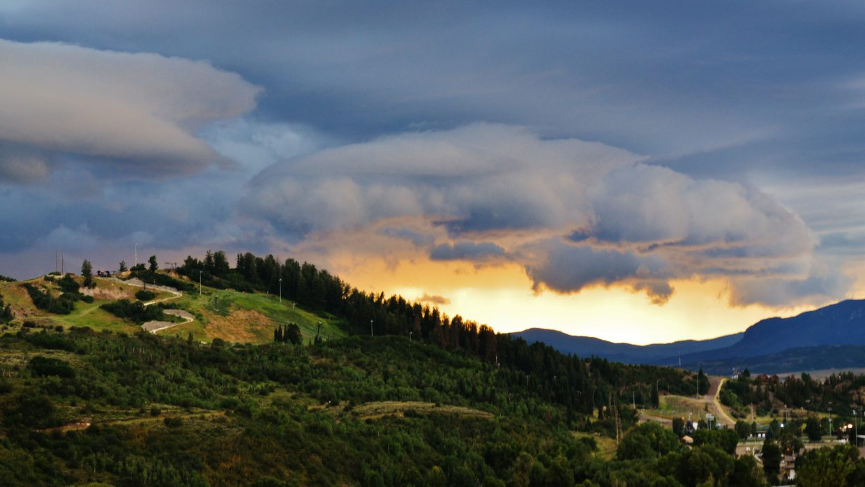 A early evening Summer Storm creeps its way into the Yampa Valley over Howelsen Hill on Sunday evening. Submitted by Rebecca Musso.