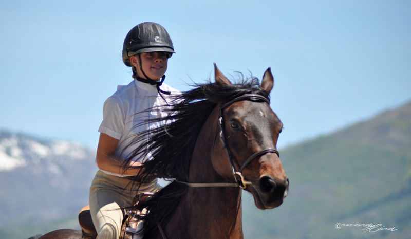 A youth competitor showing at the 2013 Cayuse Classic Horse show at Sidney Peak Ranch.