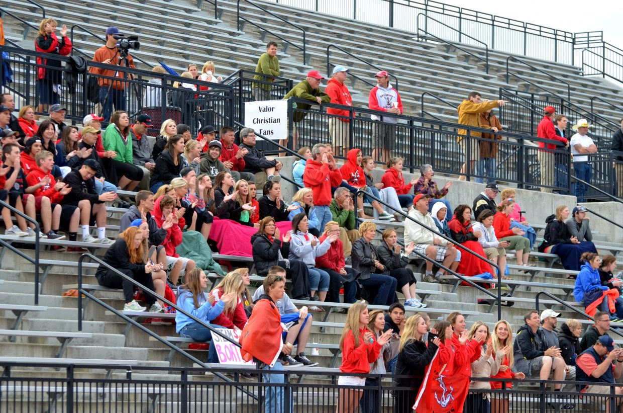 Steamboat fans cheer during the Sailors boys lacrosse team's Final Four game against Air Academy on Wednesday.
