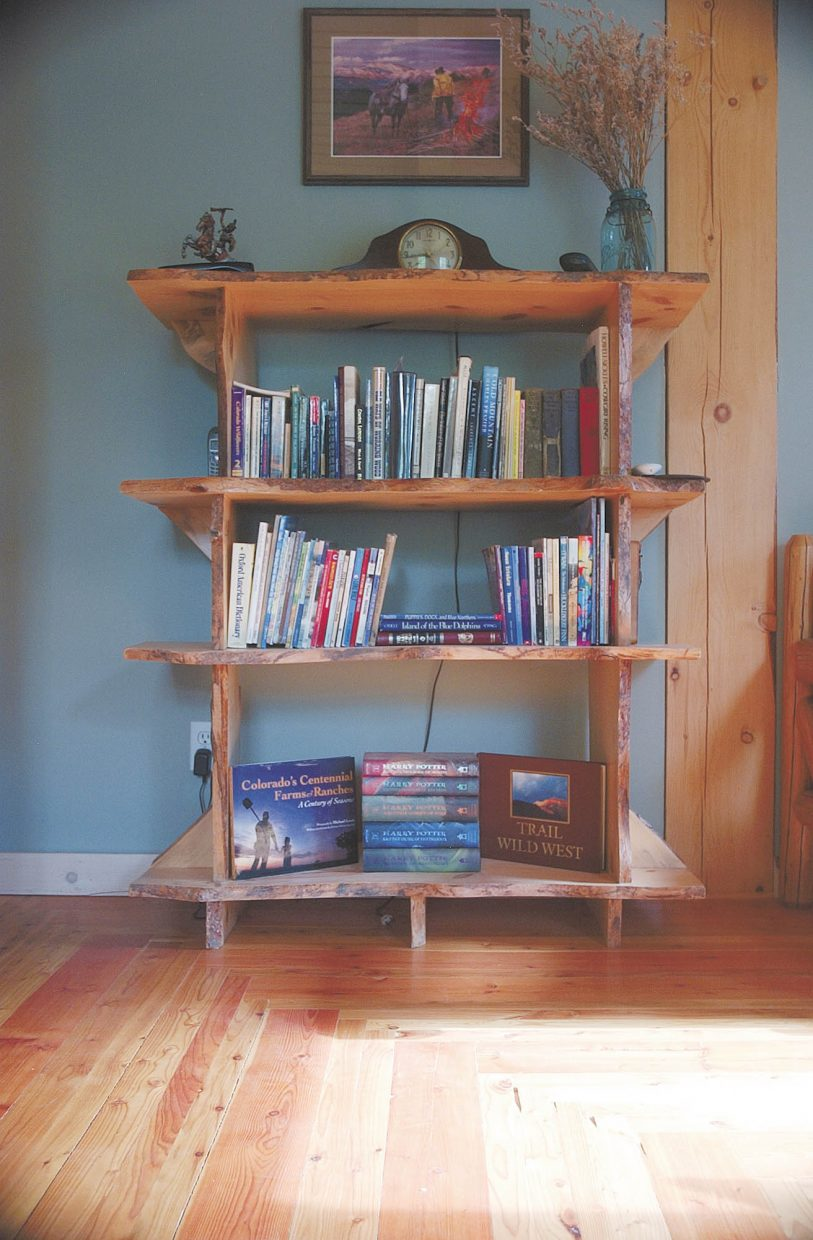 Charlie Cammer built his wife Barb a bookcase out of blue-stain wood.