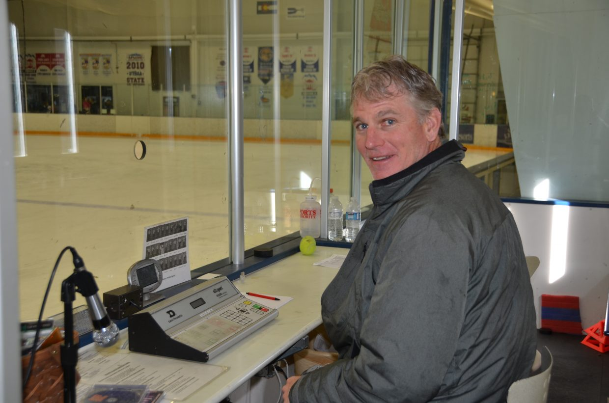 Todd Musselman runs the time clock for the SSYHA U12 Girls hockey game. Submitted by: Shannon Lukens