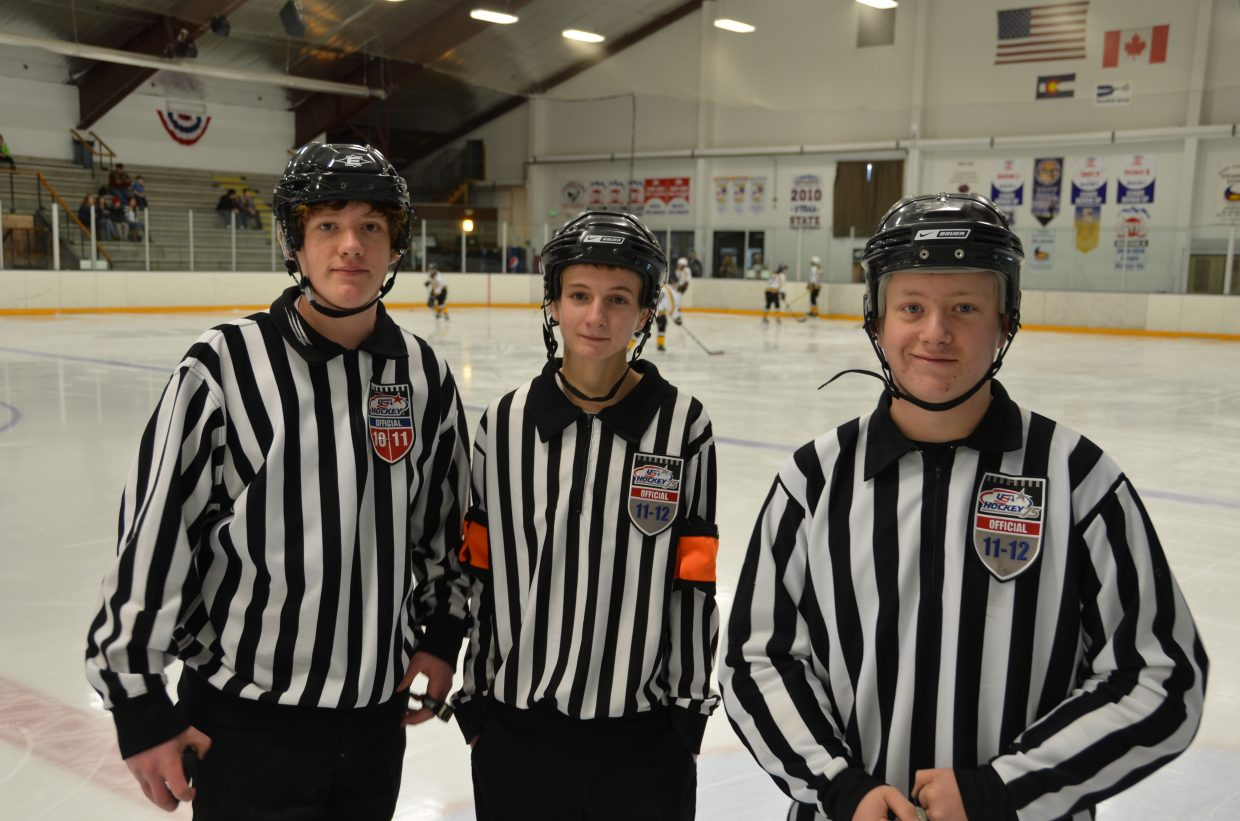 Refereeing the U12 girls game at the Howelsen Ice Arena wer Drew Boatwright, Brandon Martin, and J.P. Ely. Submitted by: Shannon Lukens