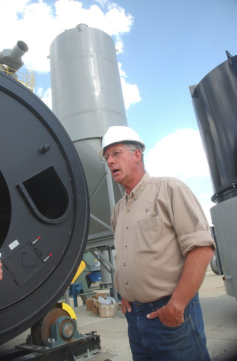 Rocky Mountain Pellet Co. plant manager Bob Stahl explains how the pellet plant will work once it is operational.
