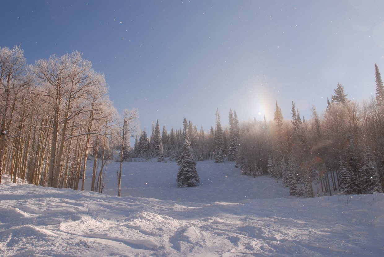 Sun dog on Flying Z at Steamboat Ski Area. Submitted by: Derek Svennungsen