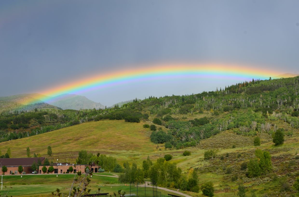 Rainbow over Strawberry Park Elementary School/Steamboat Springs Middle School. Submitted by: Kristen Fahrner