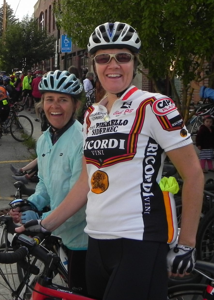 Participants at the community bike ride with Andy Schleck on Monday.