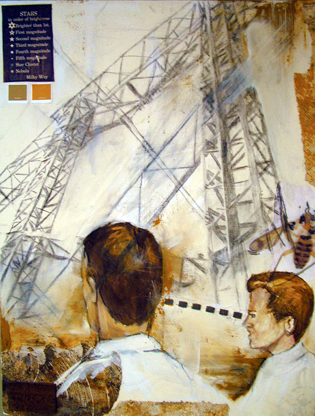 """""""I Still Look To You,"""" mixed media by Troy DeRose. His work is being represented by Schiesser Gallery in Ski Time Square."""