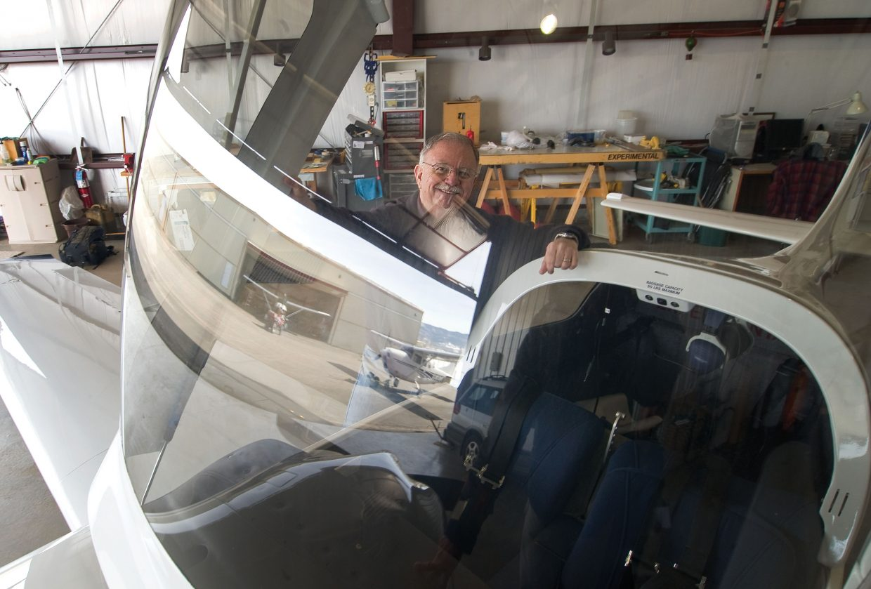 Local pilot Jack Dysart shown through the canopy of the Lancair 360 he spent the past decade building. The plane is finally finished, and Dysart has been flying it across Routt County, and across the United States.