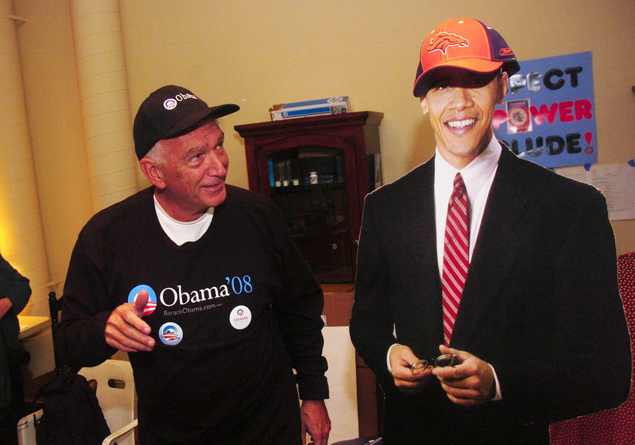 Murray Tucker passes by a Barack Obama cutout Tuesday at the Steamboat Springs Obama election headquarters.